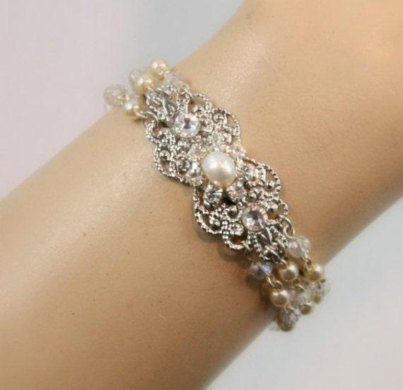 Bridal bracelet Pearl bracelet Wedding cuff Bride Bracelet Swarovski Crystals Pearls and Silver Filigree rhinestone bracelet Vintage Style
