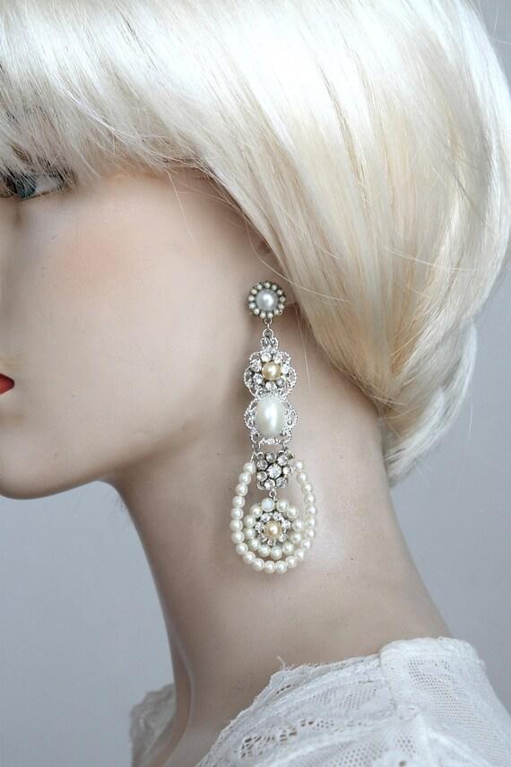 Bridal Chandelier Earrings Golden Filigree and Swarovski Crystal Rhinestone and Pearl Chandeliers Victorian Earrings Ivory Cream Pearls