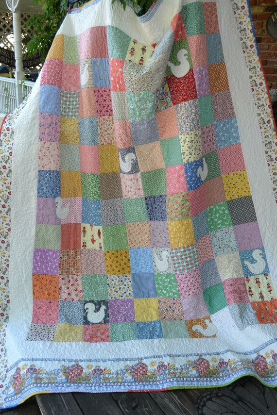 Handmade Quilt Cottage Chic Blanket 30's Fabric Patchwork Square Vintage Rooster Applique Shabby Country Style pastel twin quilt