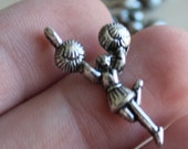 8 Cheerleader Charms - Silver  - 28x13mm - Ships IMMEDIATELY  from California - SC118