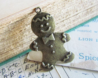 3 Gingerbread Man Charms - Antique Bronze - 41x27mm  - Ships IMMEDIATELY  from California - BC215
