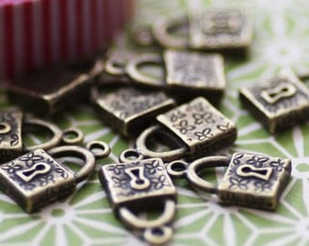 30 Lock Charms - WHOLESALE - Bronze - 18x10mm - Ships IMMEDIATELY  from California - BC29a