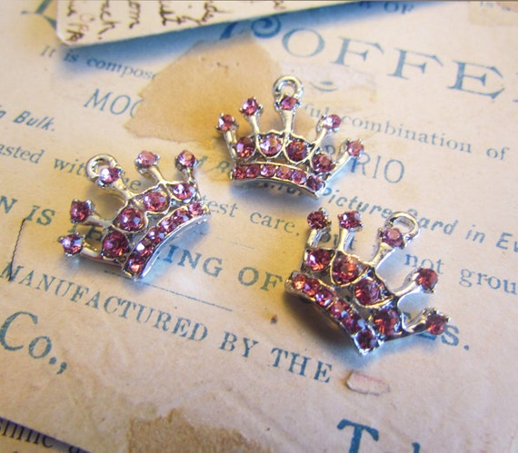 3 Pink Rhinestone Crown Charms 19x18mm - Ships IMMEDIATELY from California - SC80