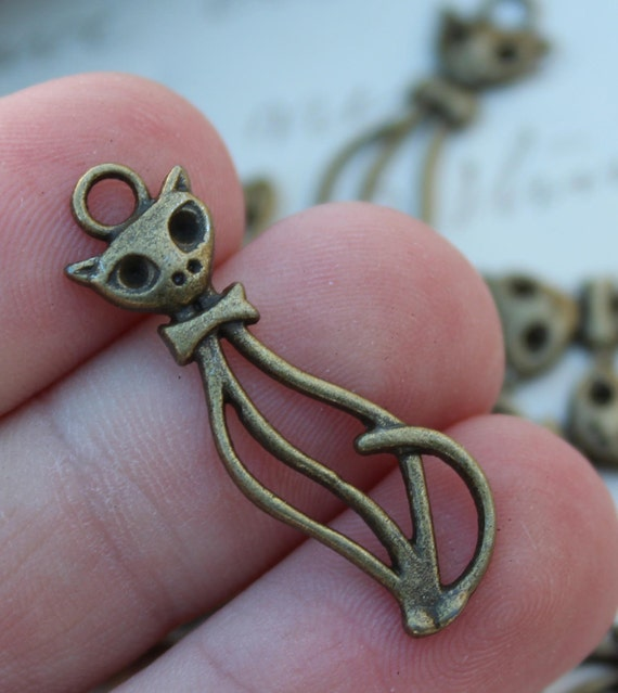 Cat Charms Antique Bronze - 34x10mm - 50pcs - Ships IMMEDIATELY  from California - BC318a