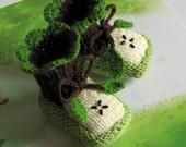 Baby Booties Green Apple - knit baby booties - knitted baby green apple booties