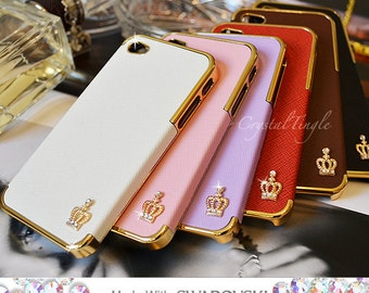 Bling Sparkle Gold Crown Luxury Designer Synthetic Leather Case Made w/ SWAROVSKI Elements Clear White Crystals For Apple iPhone SE and 5S