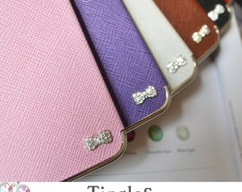 Sweet Princess Sparkle Bow Couture Luxury Designer Inspired Leather Hard Case Silver Frame For iPhone SE & 5S