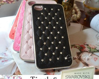 Classic Quilted Pattern Leather Hard Case Made with Swarovski Elements Crystal Diamond for APPLE iPhone SE 5S White Black Pink Red