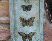 """Butterfly Art Vintage Painting Butterflies Specimen Print Framed Butterflies Print Shabby Aqua Framed Print 9 1/2"""" x 18"""""""