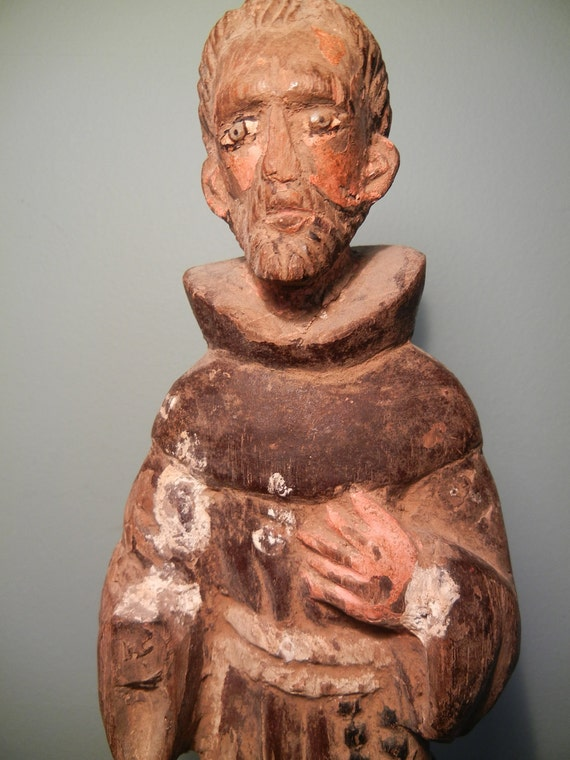 Old hand carved and painted St. Francis wood Santos