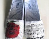 Custom Rose Music Sheet Shoes