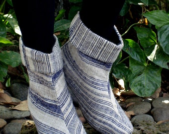 25% Off Clearance Sale- Denim & Ivory Natural Woven Cotton Cuffed, Mid Calf, Heeled Boot, Vegan