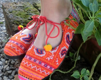 Ballet Flats in Tangerine Orange Womens Shoes, Hmong Embroidered - Sabrina