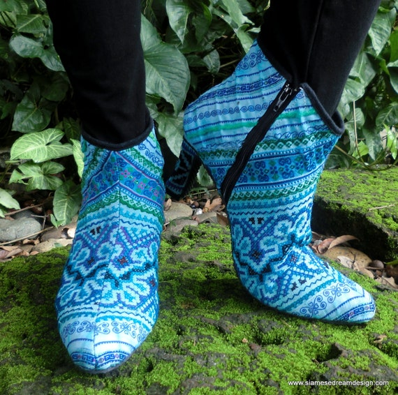 25% Off Clearance Sale- Hmong Embroidered Heeled Vegan Angelina Ankle Boots- Brilliant Blue