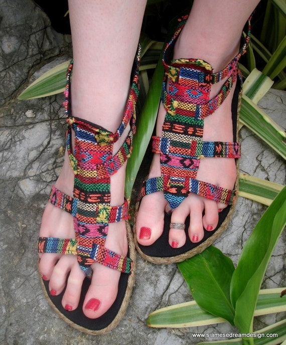 Vegan Isadora Gladiator Sandals, Shoes In Nepali Embroidered Bright Mix