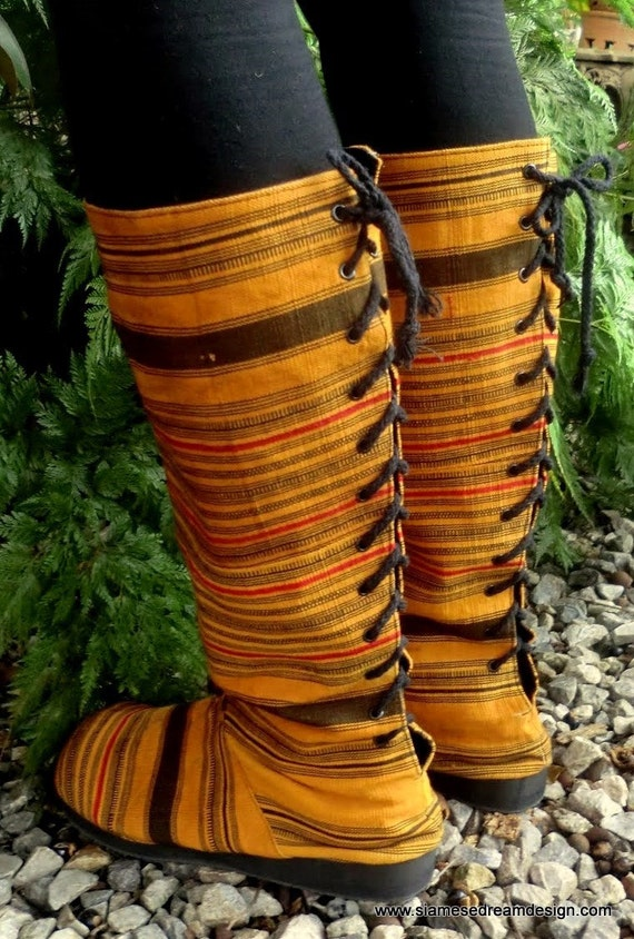 Hmong Woven Cotton, Lace Up, Knee High, Goldenrod Striped Moccasin Viva Vegan Boots Size 9.5