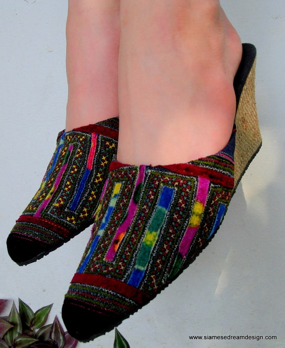 25% Off Clearance Sale- Jewel Tone Hmong Embroidered  Slide Womens Shoes Wedge Heel 9