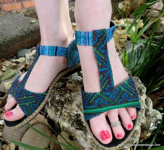 Hmong Embroidered Batik  Blue & Green T-Strap Vegan Lindsay Sandal