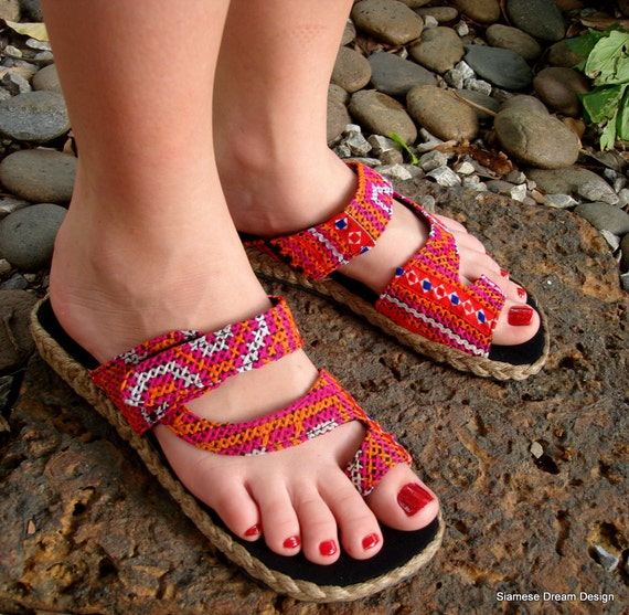 Womens Colorful Hmong Embroidered Toe Wrap Flat Vegan Athena Sandal