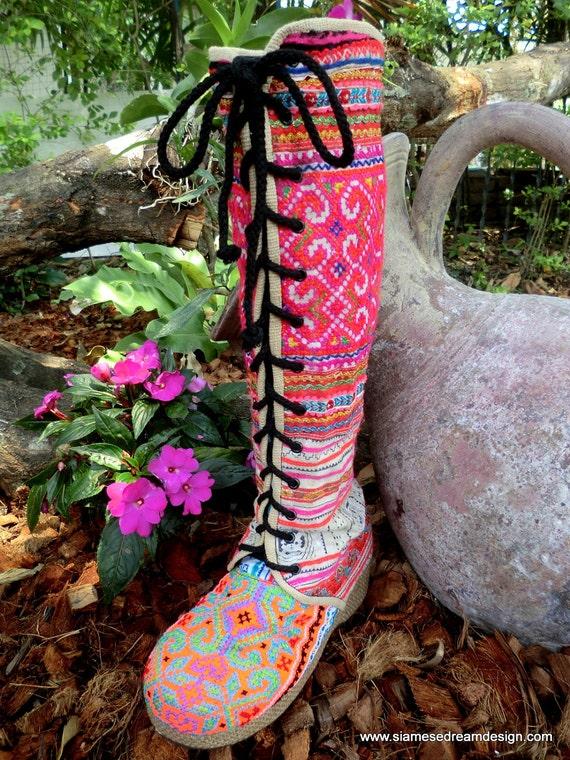 Colorful Vegan Anja Boot, Hmong Embroidery & Batik Lace Up Knee High Wedge Heel Size 5