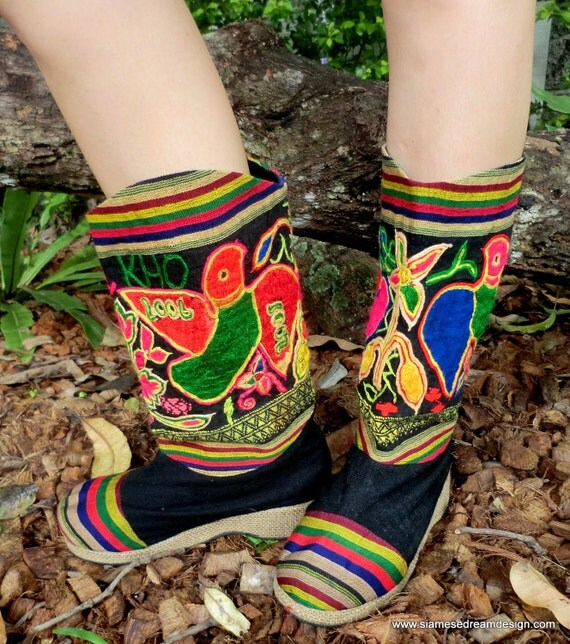 Embroidered Mid Calf Vegan Dakota Boots In Colorful Vintage Laotian Repurposed Cotton, Size 9