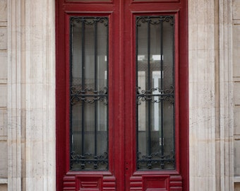 Paris Photo - The Red Door, Parisian Architecture, Fine Art Photograph, Urban Home Decor, Wall Art