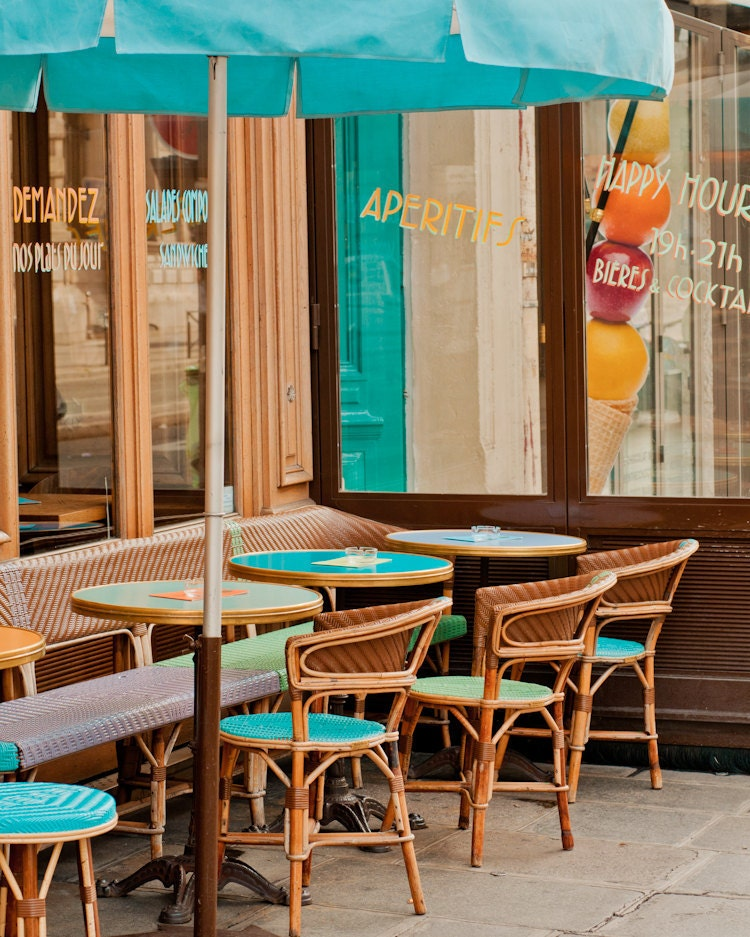 Paris graphy Aperitifs Cafe Teal Cafe Chairs Sidewalk