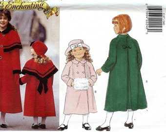 PATTERN Butterick 4167 Girls double breasted coat inverted back pleat cuffed raglan sleeves with collar capelet muff & hat Size 4-5-6 uncut