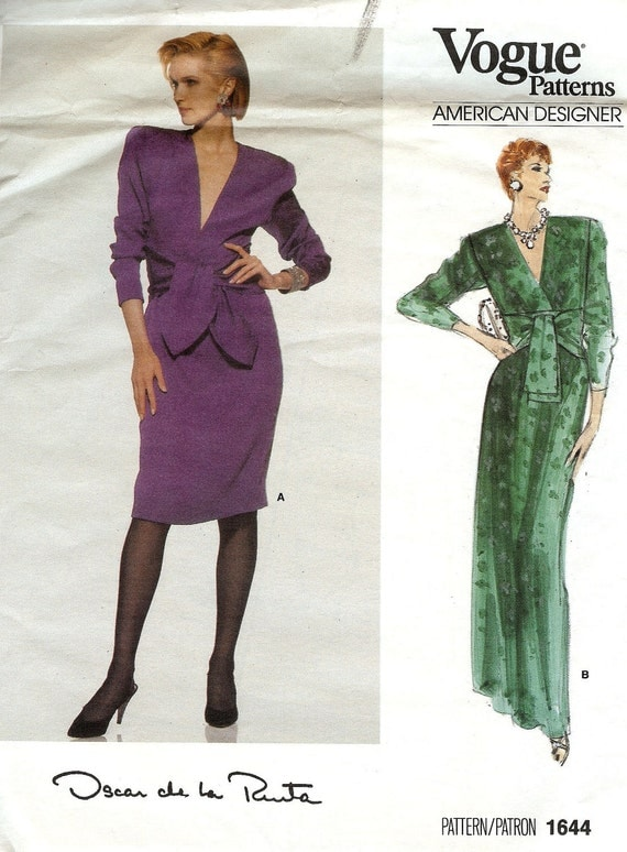 1980s Oscar de la Renta dress pattern Vogue 1644