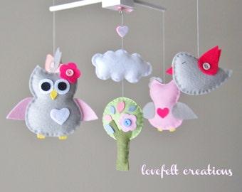 Baby Mobile - Owl and birds mobile - Crib mobile