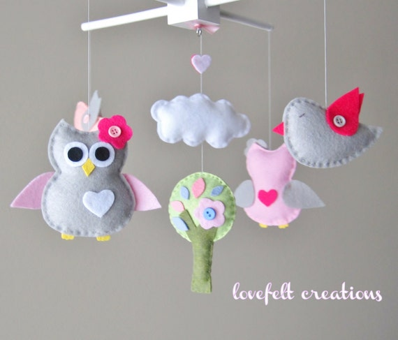 Baby Mobile - Owl and birds mobile - Crib mobile