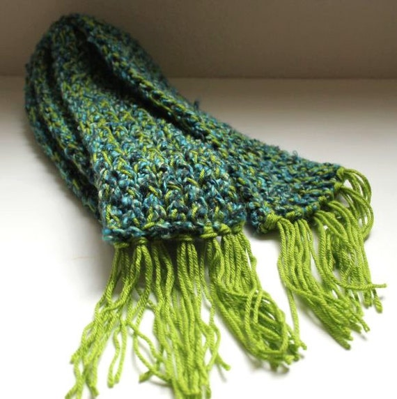 Knitting Loom Scarf Fringe : Knitted Scarf Green and Blue Loom Knit Scarf with Fringe