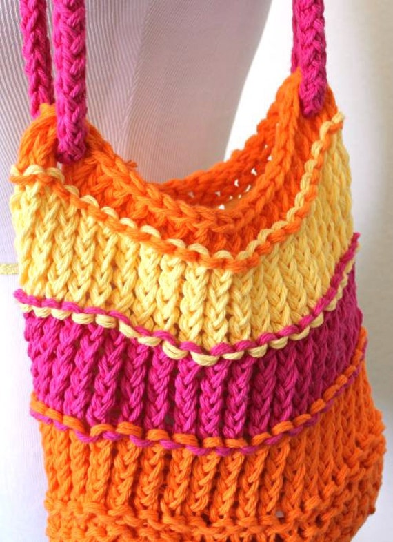Loom Knitting Bag Patterns : Knitted Bag Bright Loom Knit Cotton Tote Bag