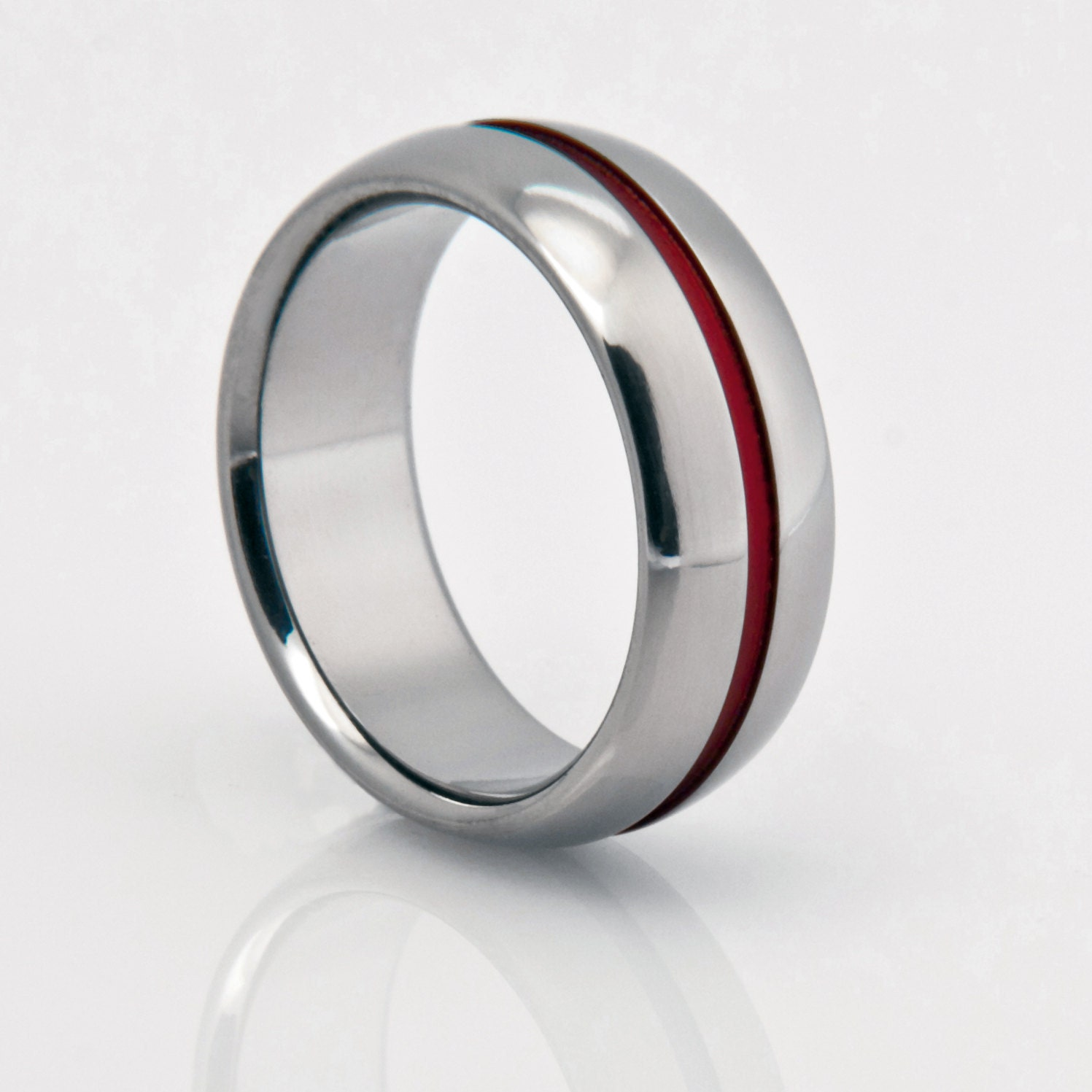 titanium band red pinstripe red string of fate titanium