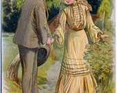 Vintage Charming Foreign Postcard Couple WITH TENDER LOVE