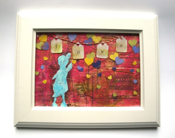 Kids wall art duck art original mixed media pink cute kids art