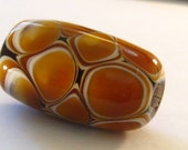 Large Ivory and Amber Barrel Bead  - one of a kind handmade lampwork glass