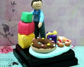 Birthday Cake Topper, Miniature, Figurine, Gift - Birthday boy with blocks and cakes