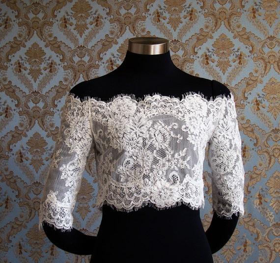 Designer Off-Shoulder Eyelash Lace Bridal Bolero jacket shrug with Buttons by IHeartBride Style Adelaide Estera - Custom Bridal Couture