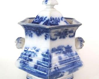 Antique Flow Blue Staffordshire Cachepot ON SALE