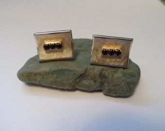 Vintage Gold with Black Stones Cuff Links Pioneer Mad Men Style