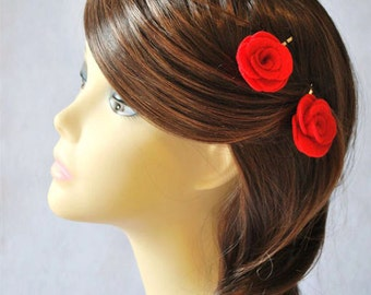 Rose Bobby Pins - Set of 2 - Pick Your Color