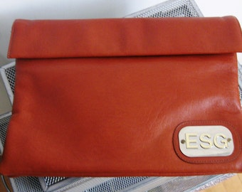 Vintage Ruth Saltz Tan Clutch - 1970's