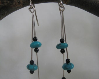 Earrings - Turquoise and Black Onyx Sterling Silver Dangle Earrings - Jewelry by Jyoti McCall
