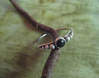 Ring - One Of A Kind - Sterling Silver  and Black Onyx with Eight Spheres - Size 8  - Modern Jewelry by Jyoti McCall