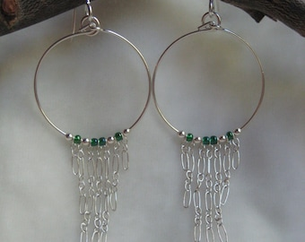 Earrings - Dangle Hoop with Green Glass Beads, Sterling Silver Beads, and Chain - Jewelry by Jyoti McCall