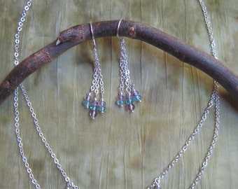 Chain Earrings and Necklace Set - Apatite,  Amethyst, and Sterling Silver -  Modern Jewelry by Jyoti McCall