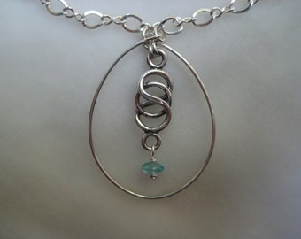 Infinity Necklace Pendant  Sterling Silver Teardrop Pendant Silver and Apatite Necklace Wire Wrapped Pendant Wire Wrapped Infinity Necklace