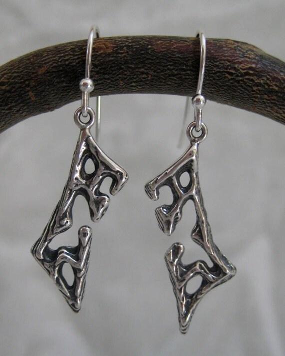 Earrings - Oxidized Silver Rectangle - Cuttlefish Bone Casting - Cuttlebone Cast - Cuddlefish Cast - Modern Jewelry by Jyoti McCall