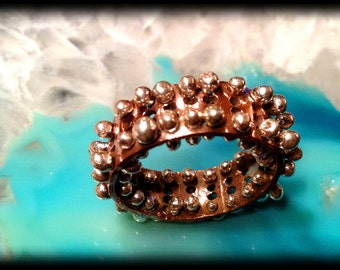 Bed of Nails Ring...OOAK handmade forged & fabricated copper and Sterling Silver pierced fit-morphing pin-massage ring